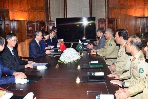 دیدار وزیر خارجه چین با فرمانده ارتش پاکستان