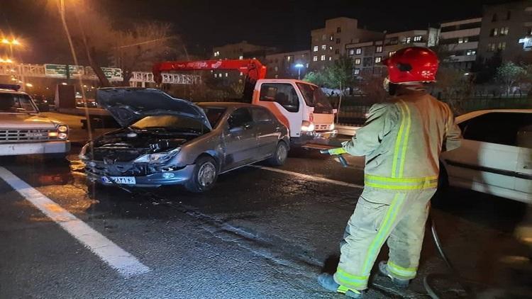 تصادف خونین چند خودرو در محور آبشناسان